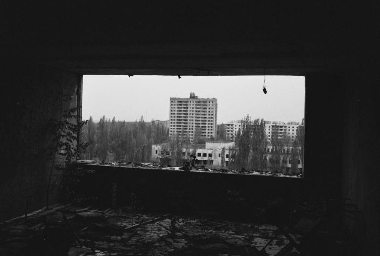 Utsikt fra boligblokk.